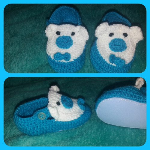 pantuflas para bebes tejidas a crochet.