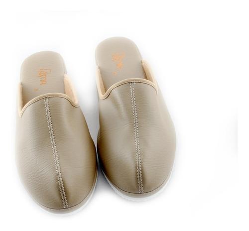 pantuflas suecas, mujer, beige, sandalias de descanso.