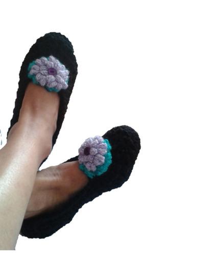 pantuflas talla 35-36 tejidas a crochet