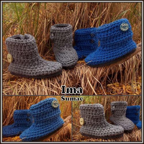 pantuflas tejidas a mano al crochet para niño. talle 19/24