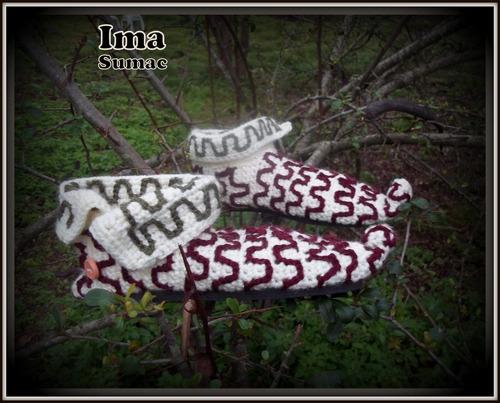 pantuflas tejidas artesanales. estilo duende. t 35/39