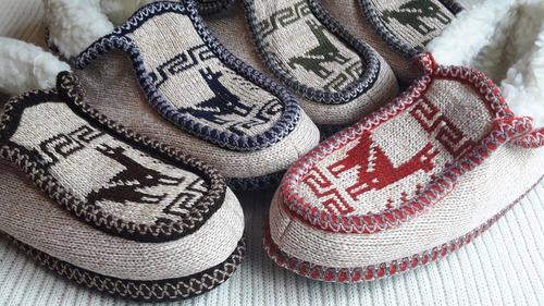 pantuflas tejidas lana de alpaca y corderito niños y adultos