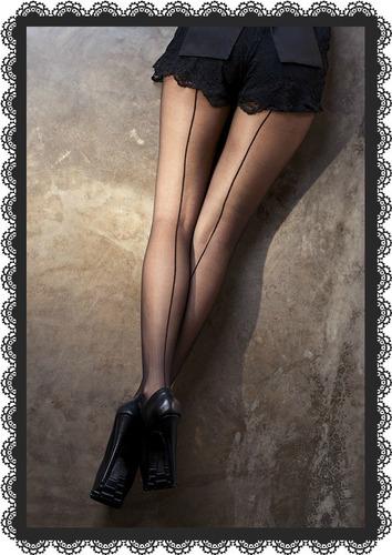 panty medias negras con costura/ raya atras sugestion