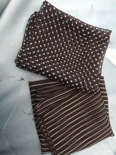 pañuelitos de cuello de gasa negro a rayas o a lunares 50x50