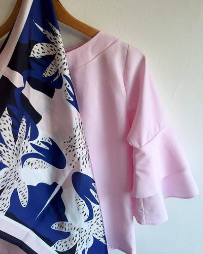 pañuelo de seda estampado,rosa y azul, mandra