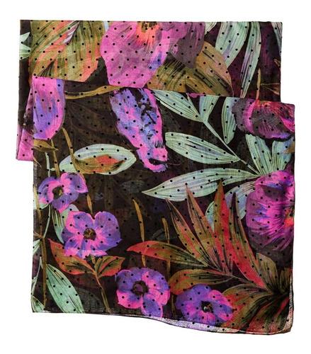 pañuelo desigual floral con lunares de terciopelo
