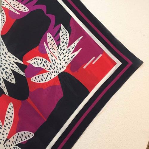 pañuelo seda estampado con aro para enganchar, mandra
