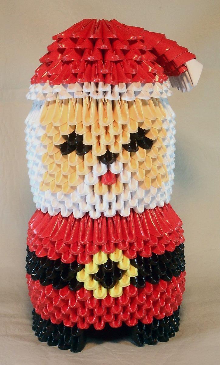 Papa Noel En Papel De 23 Cms Origami 3d 45000 En Mercado Libre - Origami-papa-noel