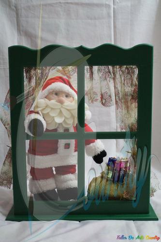 papa noel ventana muñecos de navidad