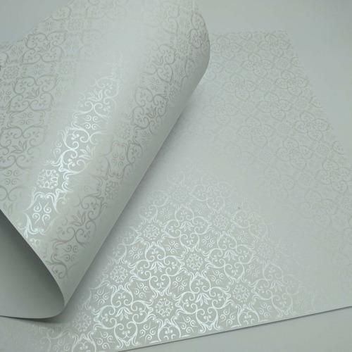 papel adamascado - branco com pérola - tam. a4 - 180g 50un