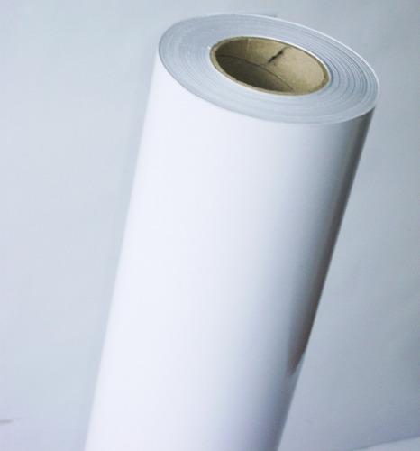 papel adesivo bobina ploter jato tinta 39cmx20m branco gloss