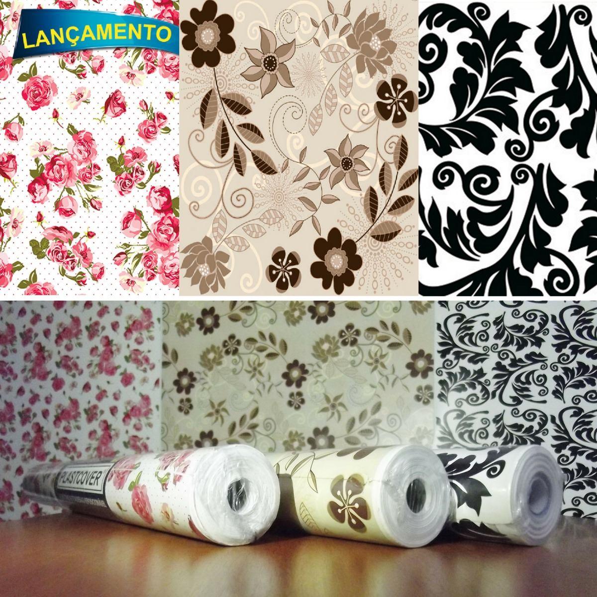 Papel adesivo parede contact floral rosas marrom arabesco for Papel para paredes catalogo