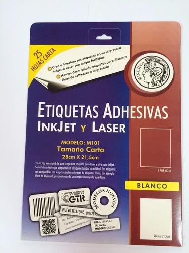 papel adhesivo para etiquetas 25 hojas tamaño carta