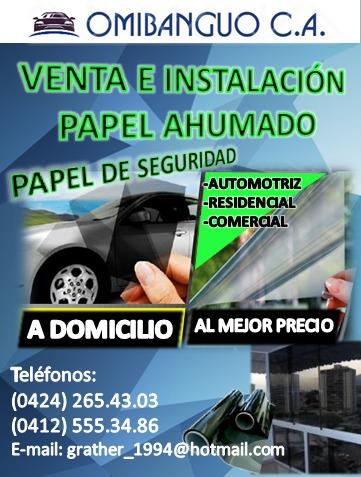 papel ahumado venta e instalación (domicilio) 5años garantía