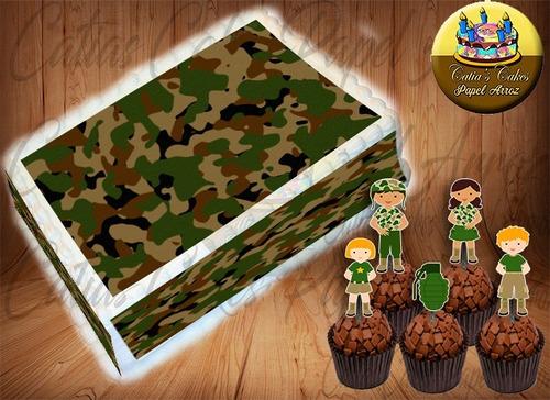 papel arroz + 04 faixas + 50 topper camuflagem exército ref1
