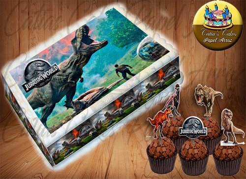 papel arroz kit dinossauro jurassic world 2 com topper