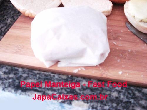 papel barreira 25x35cm c/1600 fosco lanche wrap fritas dog
