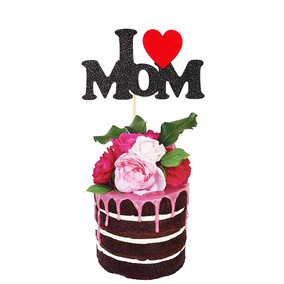 Papel Brillo I Love Mom Pastel Topper Día De Madre Decoraci