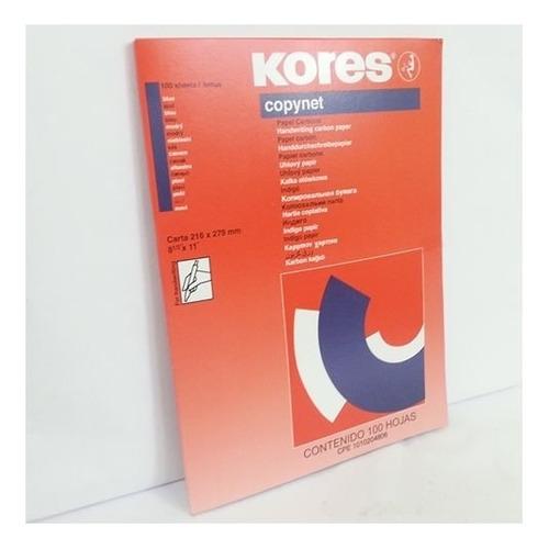 papel carbon kores azul oficio y carta paq x 100 ts511