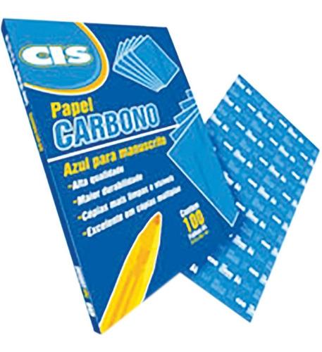 papel carbono para lapis cis azul a-4 papel sertic cx.c/100