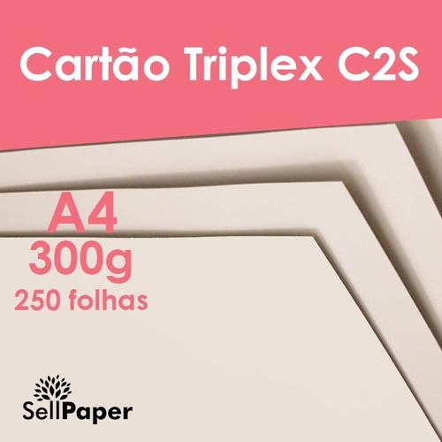 papel cartão triplex 300gr c2s formato a4 250 folhas