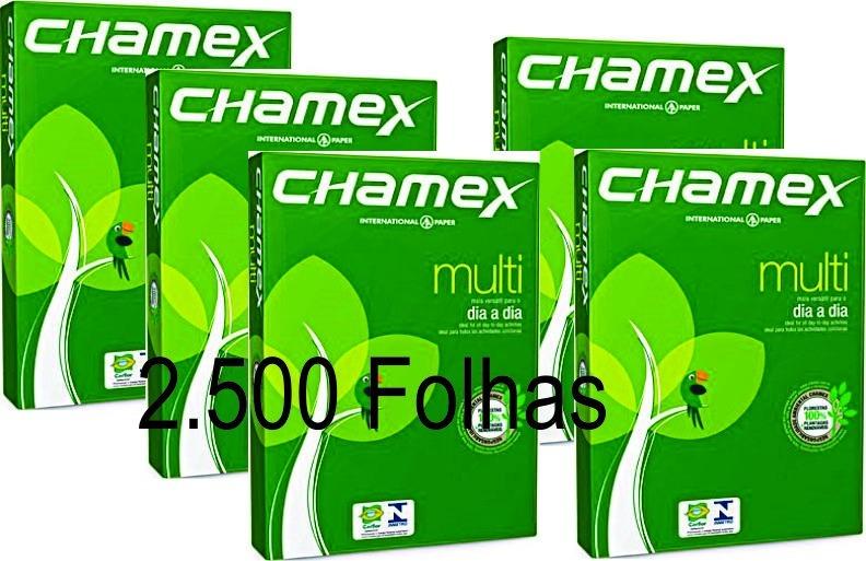 Papel Chamex Sulfite A4 75g Caixa 2500 Folhas 05 Resmas R 125