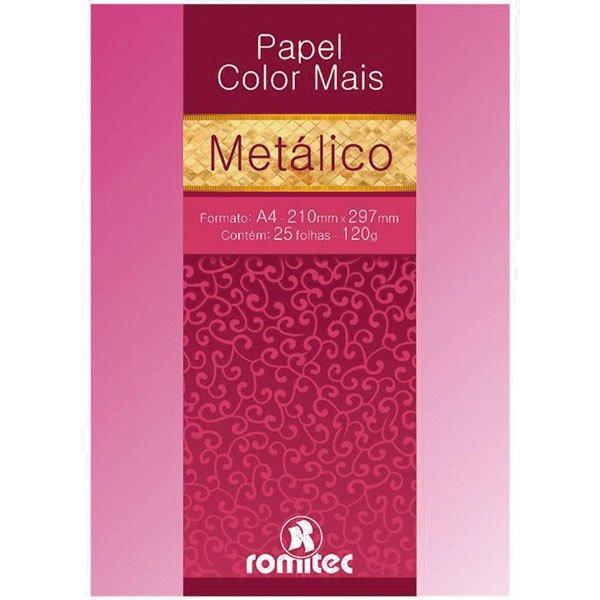 f4453c331 Papel Color Mais Metálico Rosa - 120g Pacote 25 Fls Romitec - R  38 ...