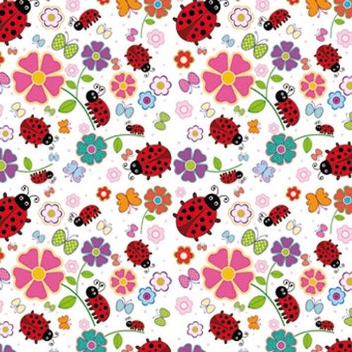 papel contact - plastico adesivo decoração - joaninha e flor