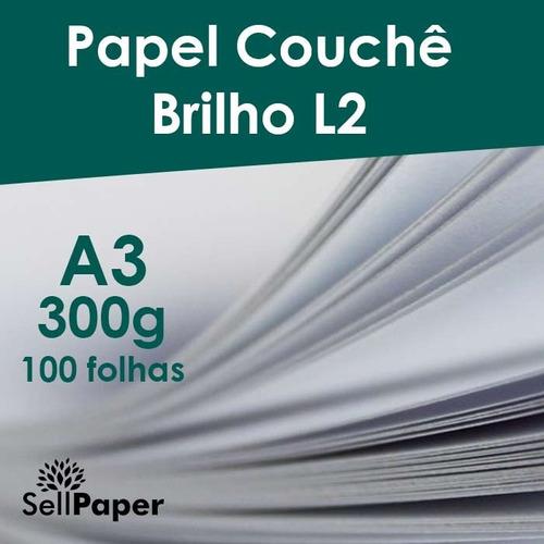 papel couche 300gr fosco 100 folhas formato a3