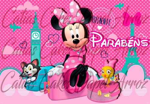 papel de arroz minnie rosa a4 md07
