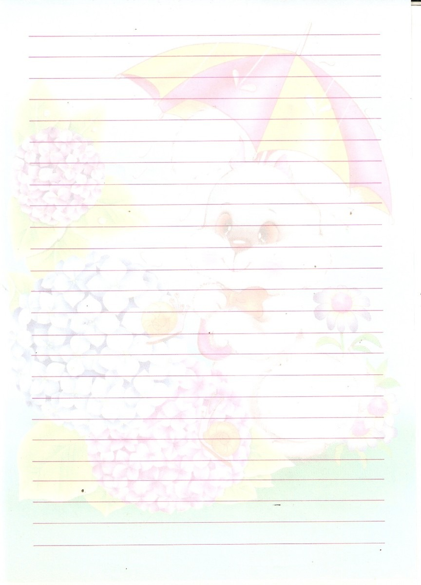 Papel de carta coelhinho na chuva anos 80 r 20 00 em for Papel pintado anos 80