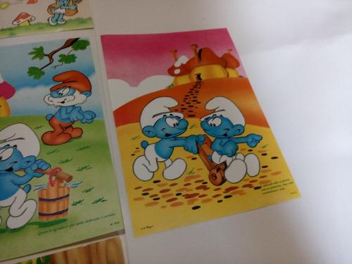 papel de carta smurfs lote coleçao 6 unid 2 envelopes #1155