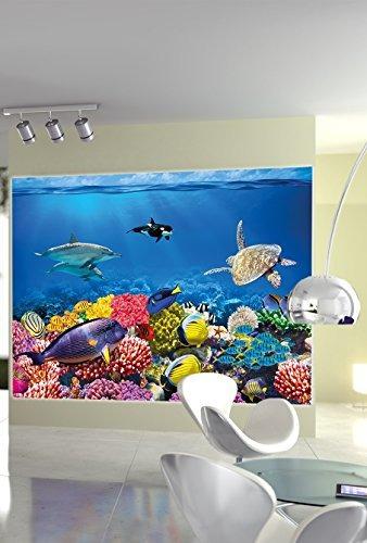 papel de los arrecifes de coral foto de la pared submarino