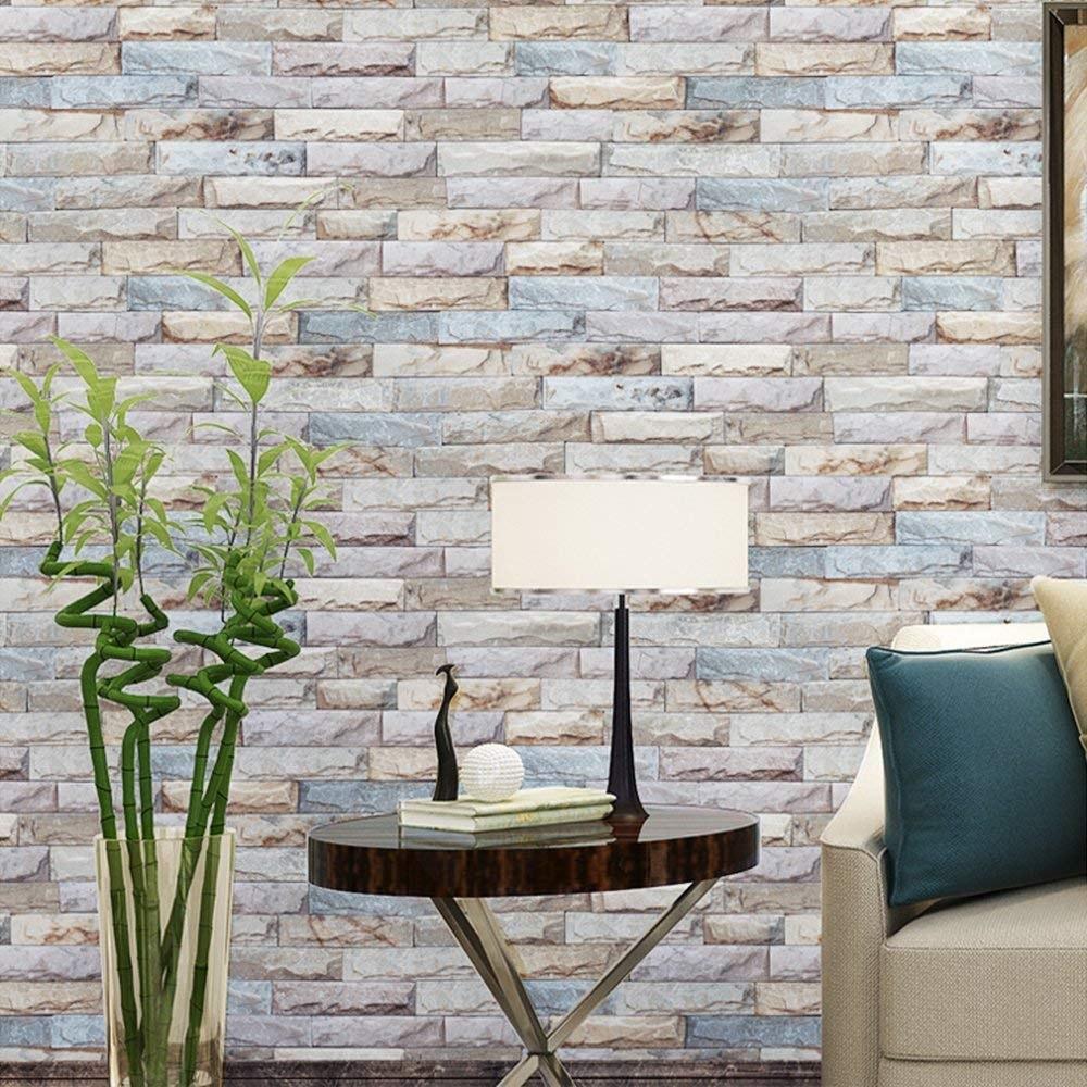 Papel de pared auto adhesivo apariencia de piedra 3d - Papel adhesivo para paredes ...