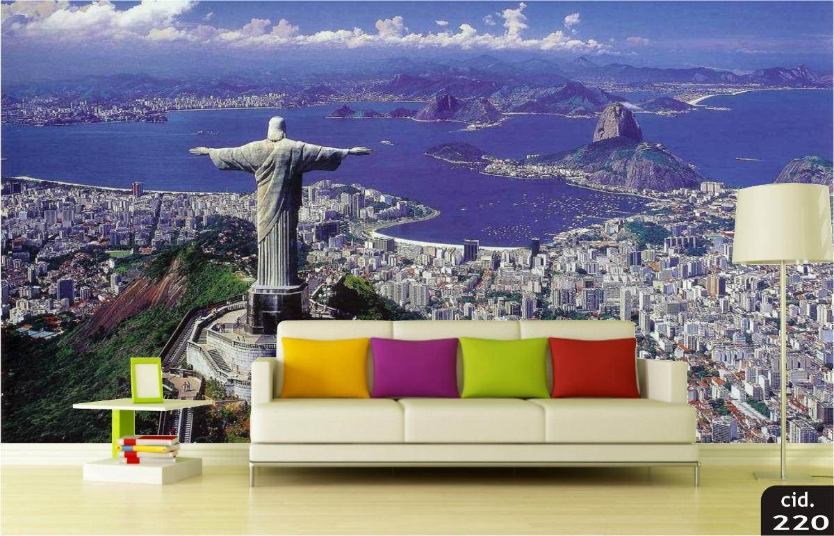 Papel De Parede 3d Adesivo Rio De Janeiro Cristo 4k M 220 R 45  -> Papel De Parede Para Sala No Rj