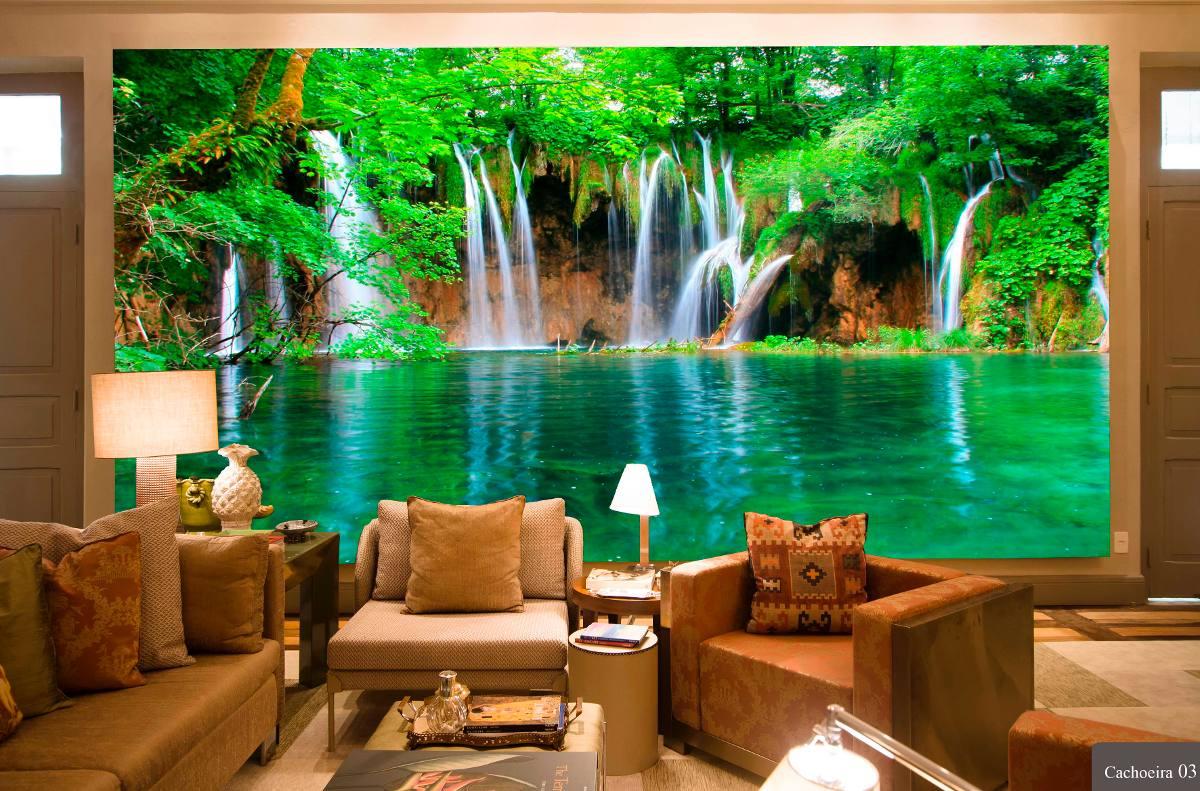Papel de parede 3d cachoeiras alta defini o por m r - Papel adhesivo para paredes ...