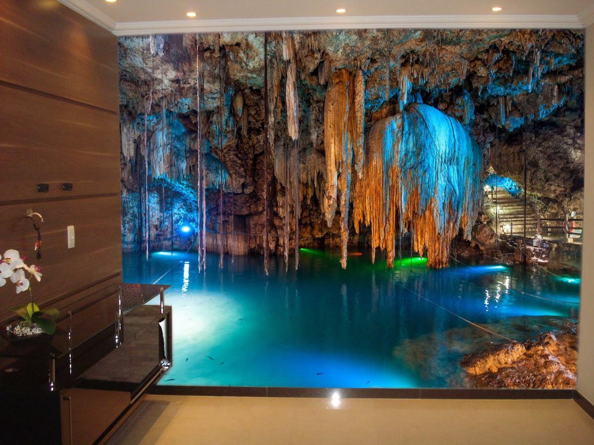 Papel de parede 3d caverna paisagens natureza 4k m r for Sala de estar com papel de parede 3d