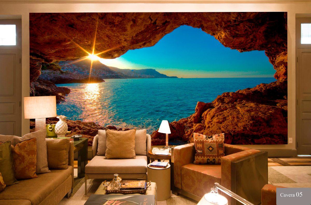 Papel de parede 3d cavernas qualidade de imagem por m for Papel pintado para paredes 3d