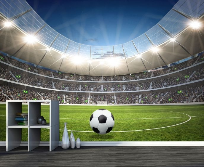 Esporte Tileable Papel De Parede Colorido: Papel De Parede 3d Futebol Estádio Adesivo Bola Jogo Gg133