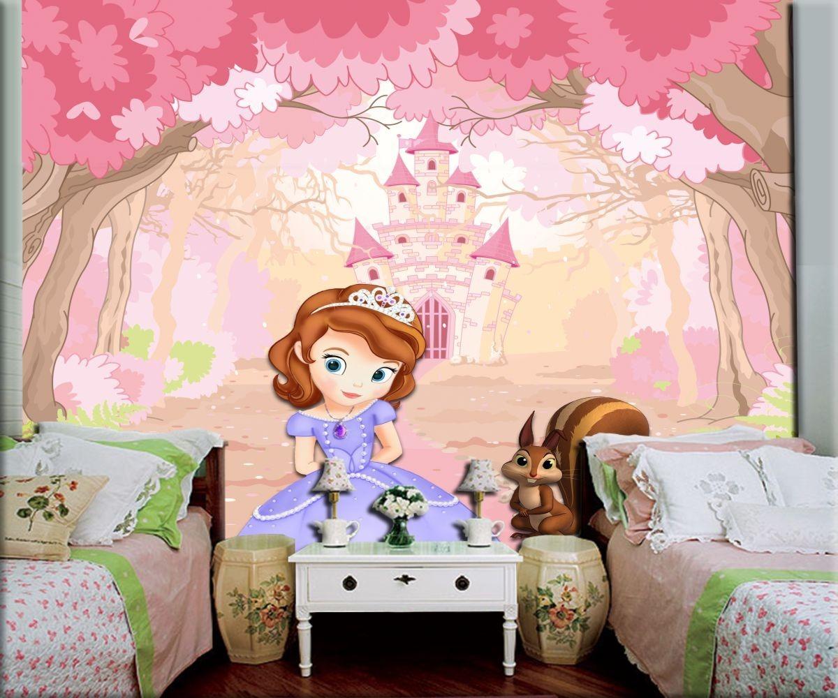 Papel de parede 3d infantil princesa sofia r 49 90 em - Papel infantil para paredes ...