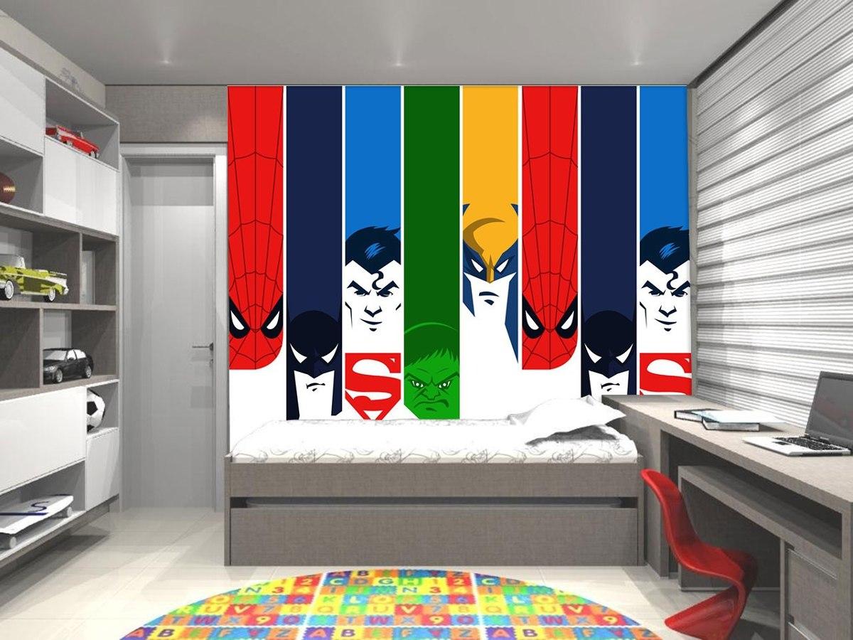 Papel De Parede Infantil Super Herois Casa M Veis E Decora O  ~ Decoração Quarto Teen Com Quarto De Super Herois
