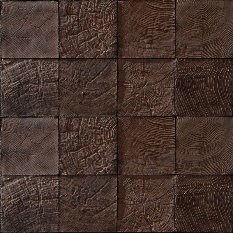 Papel de parede 3d madeira rustica marrom escuro mosaico for Mosaico adesivo 3d