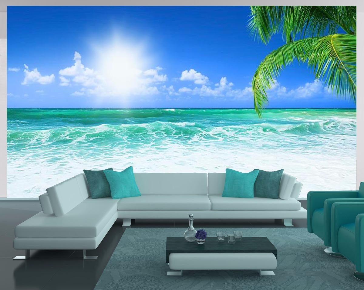 Papel de parede 3d paisagem c u sol praia mar m nsk40 for Sala de estar com papel de parede 3d