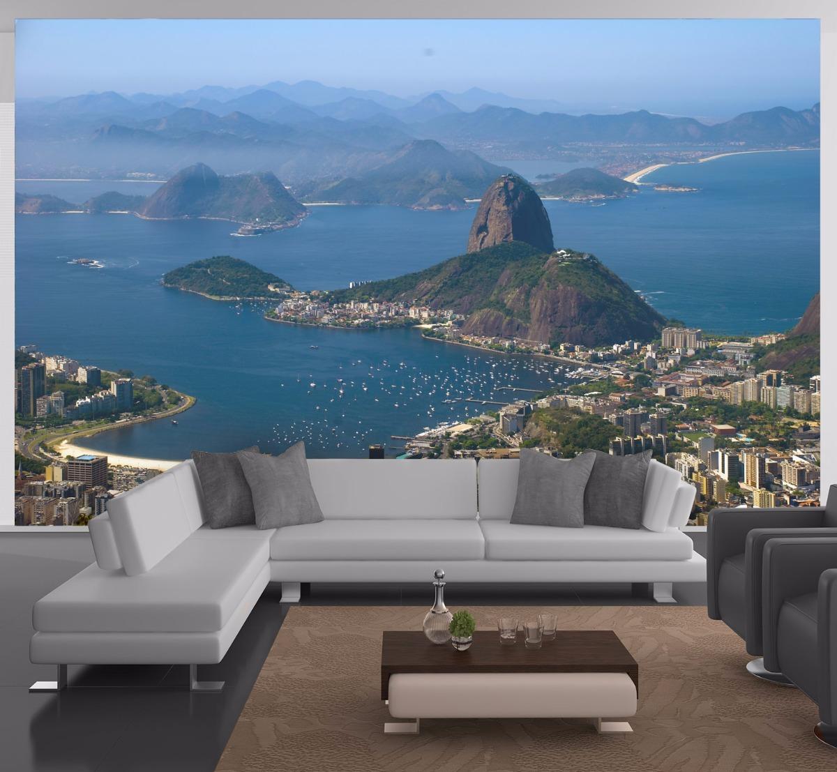 Papel De Parede 3d Paisagem Cidades Rio De Janeiro M Ncd51 R 45  -> Papel De Parede Para Sala No Rj