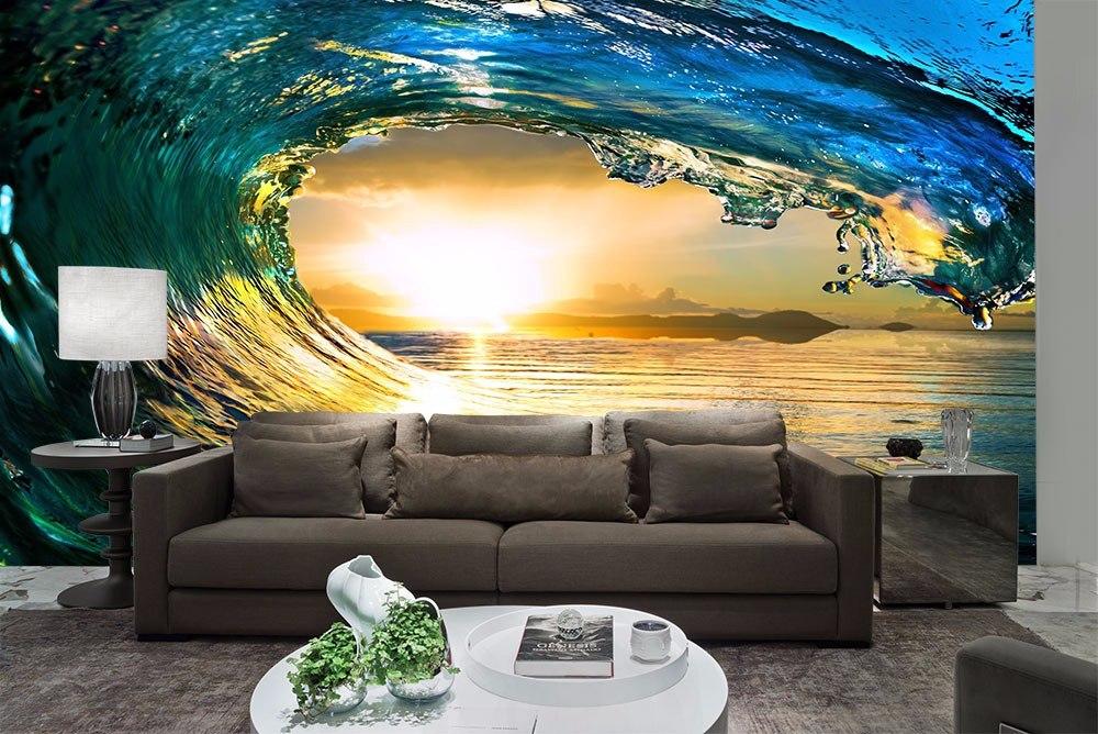Papel de parede 3d paisagens oceanos r 49 05 em mercado for Sala de estar com papel de parede 3d