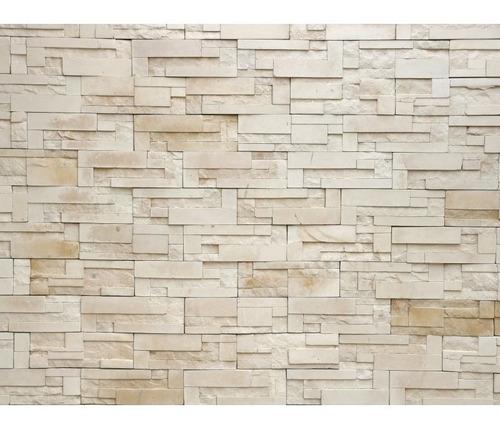 papel de parede 3d pedras canjiquinhas bege vinílico