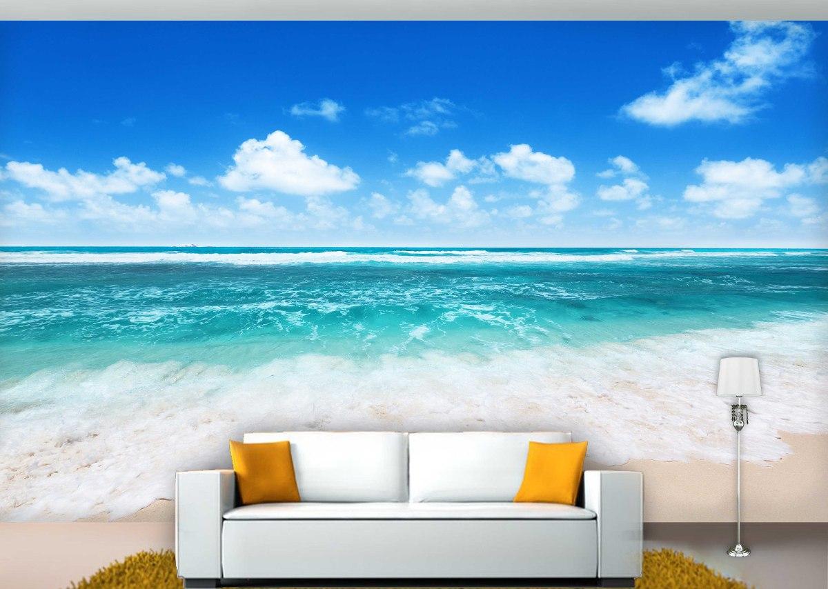 papel de parede 3d praia mar paisagem 2 0m x 1 0m r 99 00 em mercado livre. Black Bedroom Furniture Sets. Home Design Ideas