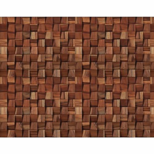 Papel de parede 3d sala mosaico madeira vin lico adesivo for Mosaico adesivo 3d