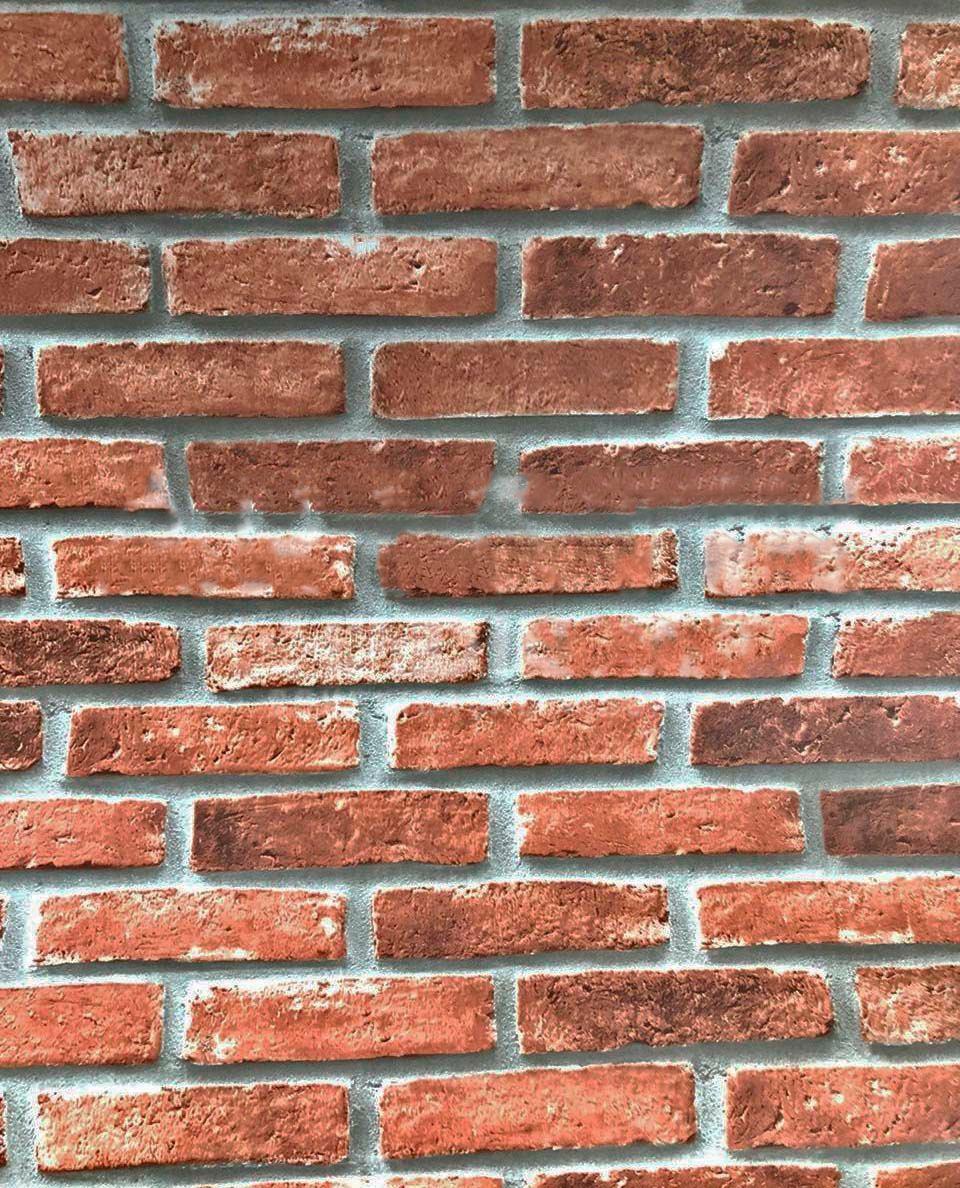Papel de parede 3d vinilico tijolo a vista marrom vermelho - Papel vinilico para paredes ...