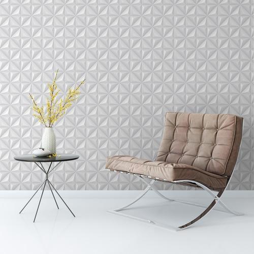 papel de parede adesivo 3d efeito gesso triangular branco